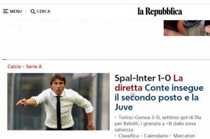 """Segna l'Inter, ma per """"Repubblica"""" ha segnato la Spal"""